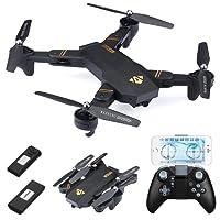 Virhuck 720P RC Drone Pliable 2 Batteries, WiFi FPV / Maintien de l'Altitude / Mode sans Tête /Retour d'un Clé / Mode G-capteur