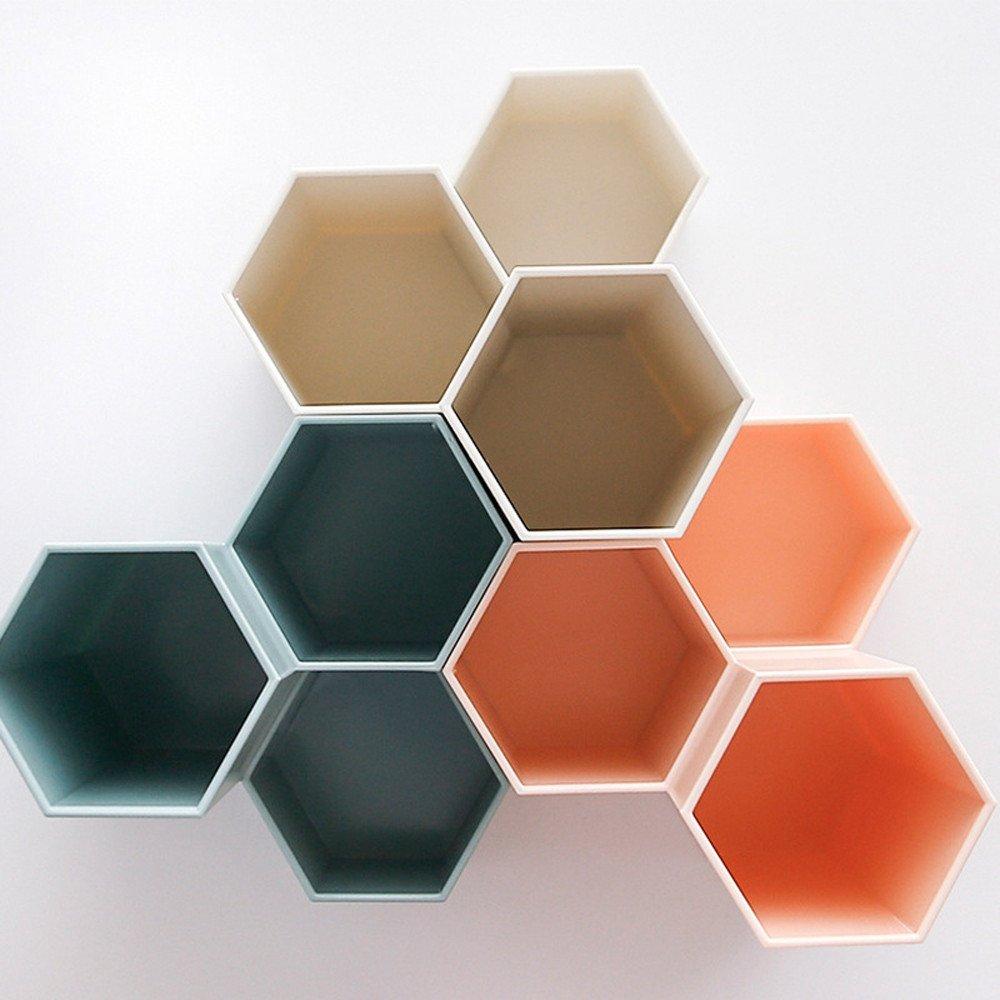 YA-Uzeun contenitore multiuso in plastica per penne creativo vaso esagonale decorazione da scrivania blue