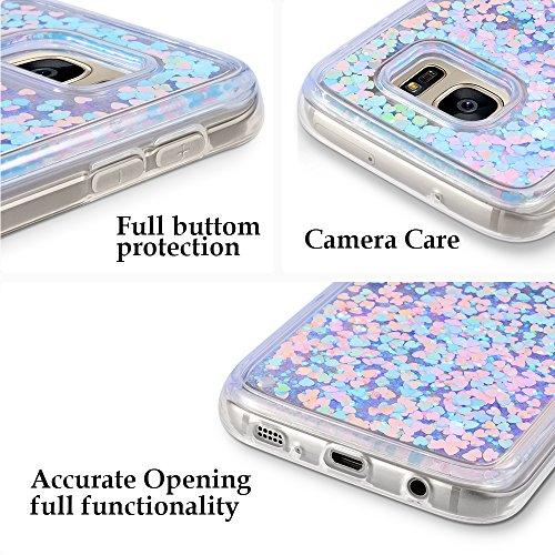 Funda Galaxy S7, Wuloo caso duro de la galaxia S7 de Samsung de Diseño creativo de la manera que fluye líquido que flota el caso duro del amor del amor de la chispa del brillo de Bling para los niños  Pinkblue