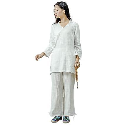KSUA Traje de meditación Zen para Mujeres Ropa de Kung fu Chino Traje de Tai Chi Traje de Yoga de algodón Uniforme de Artes Marciales