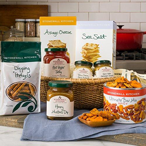 Stonewall Kitchen Hostess Gift - 8 Piece Basket - Maple Mustard Pretzel Dip