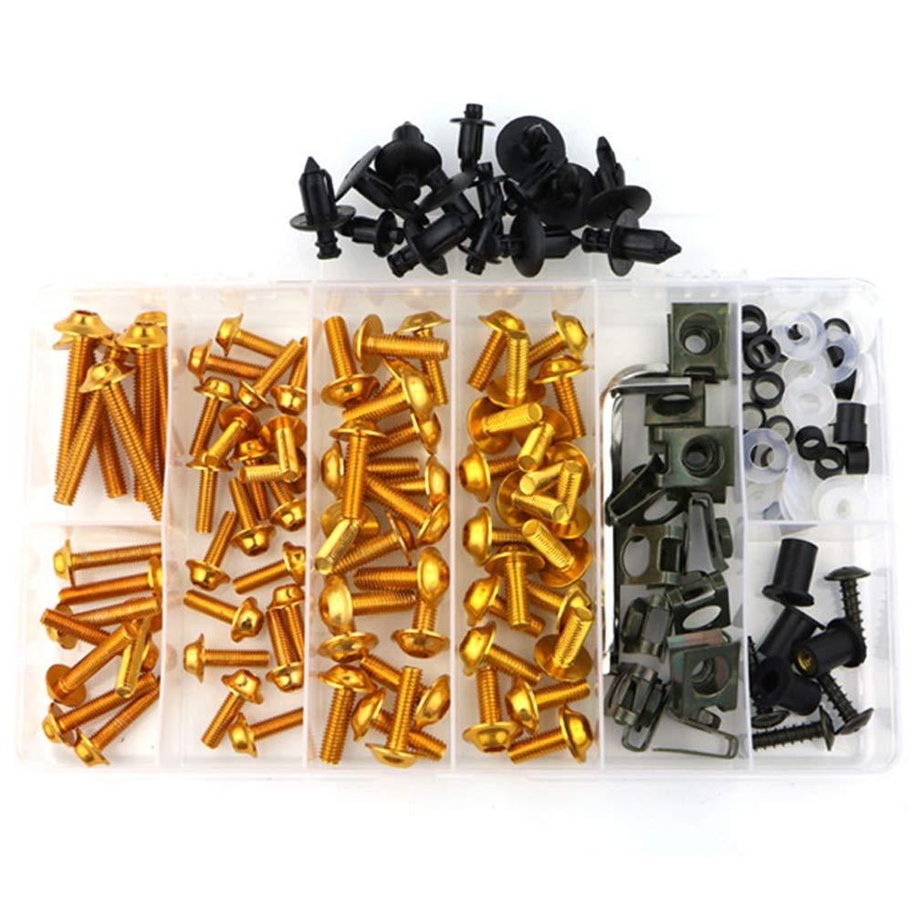 Set di Elementi di Fissaggio Kit Carrozzeria Completo KKmoon Set di Bulloni 194 Pezzi Bulloni per Carenatura da Moto Viti Oro