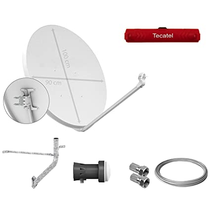 Tecatel - Kit parabólica 100 cm, Soporte, LNB Sharp, Cable y Conectores