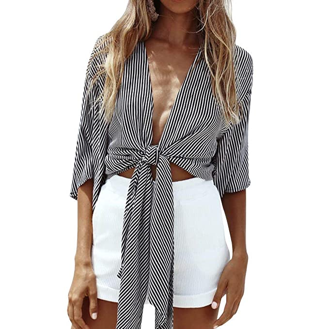 0c4ad88749c Wenxuan Women s Half Sleeve Deep V Neck Front Tie Striped Shirt Tops Blouse  . (Small