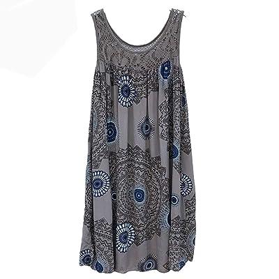 Women Summer O-Neck Tank Dress, Female Loose Knee Dresses Casual Sleeveless Print T-Shirt Dress : Garden & Outdoor