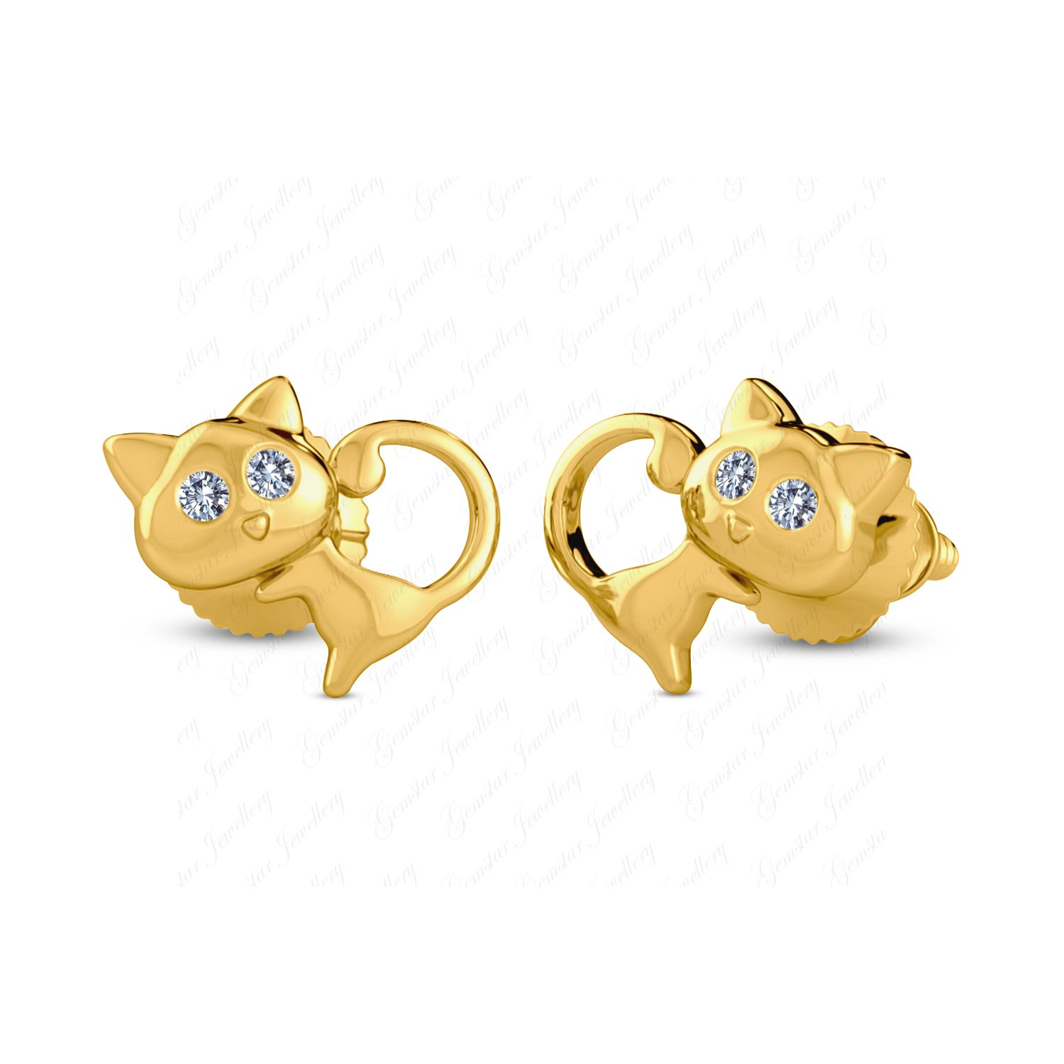 Gemstar Jewellery Lovely Cat Earrings With Round White Sim Diamond 925 Silver 14k Yellow Gold Finish