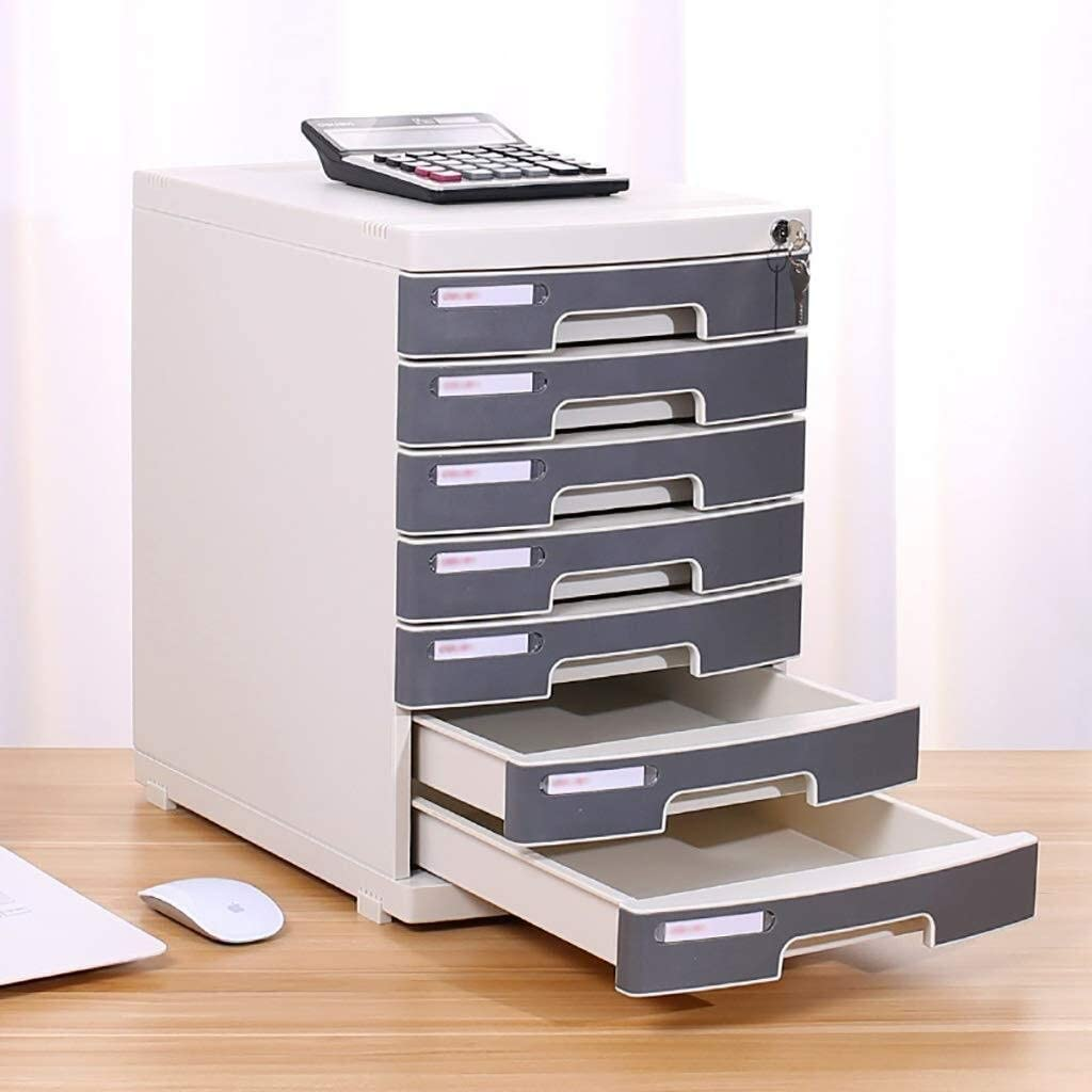File cabinet File Cabinet Large Storage Space Friendly Material Safety Belt Lock File Management Drawer Design Tight Seams Plastic Office Supplies Color : Grey