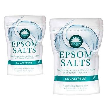2 unidades Elysium Spa Epsom sales de baño Natural Sulfato de magnesio cristales - eucalipto, 2 x 450 g: Amazon.es: Belleza
