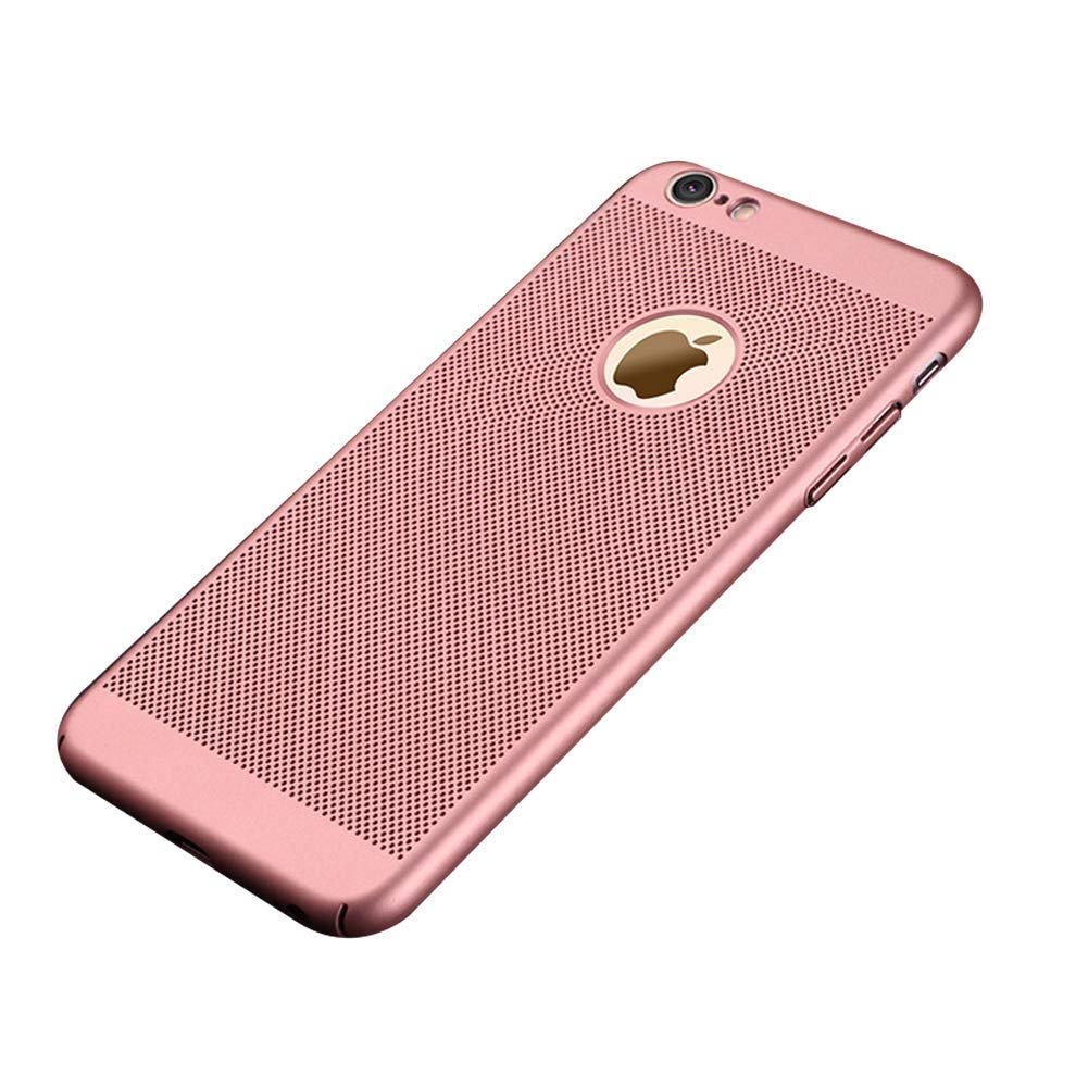 WYKDA iPhone 7Plus/iPhone 8Plus Case Breathable Mesh Case Heat Dissipation Hollow Design Solid Color Ultra Thin Anti Fingerprint Cooling Hard PC Back Case,Pink,5/5S