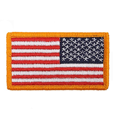 American Reverse Flag Patch With Iron-On Backing Full Color