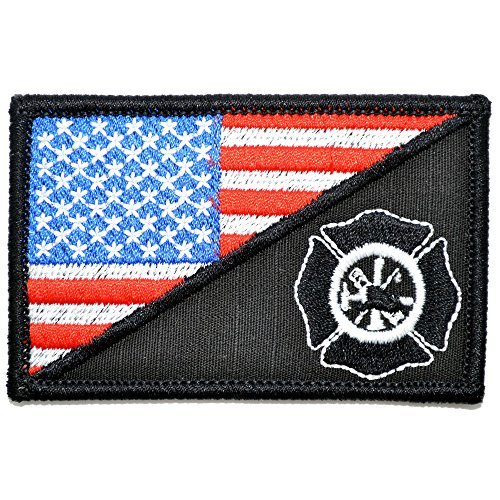 USA Flag/Firefighter Maltese Cross 2.25x3.5 Morale Patch - Multiple Color Options (Full (Maltese Cross Patches)