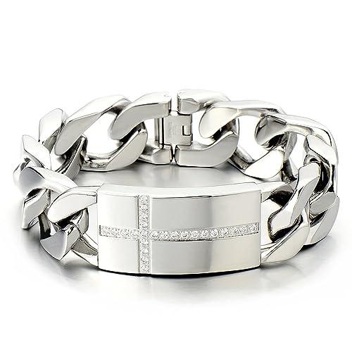 COOLSTEELANDBEYOND Top-Qualit/ät Edelstahl Panzerkette Herren Armband mit Zirkonia Farbe Silber Hochglanz Poliert
