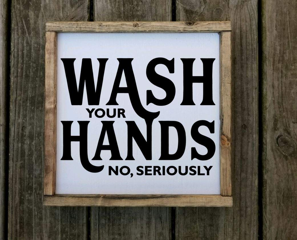 Wash Your Hands No, Seriously Farmhouse style framed sign, Multiple sizes available
