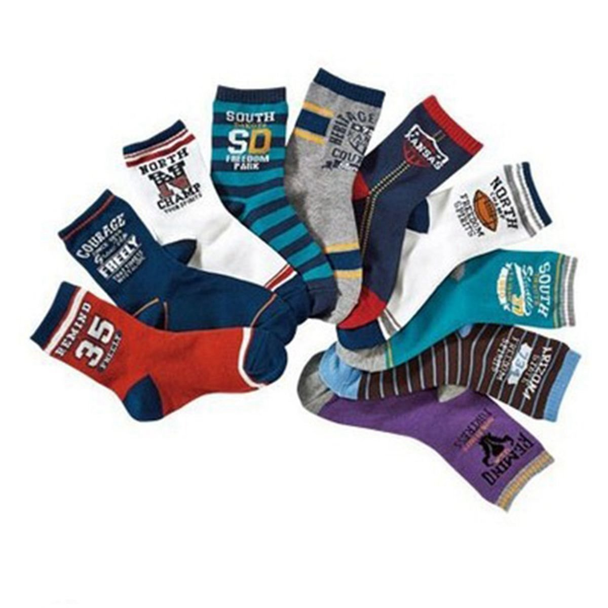 Boys Short Socks Fashion Rugby Cotton Basic Crew Kids Socks 10 Pair Pack