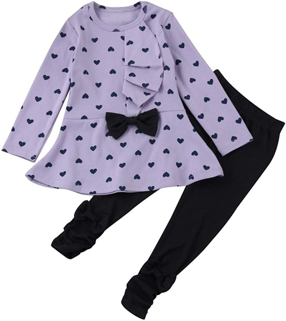Plaid Pant Set Kleidung Sannysis Cute Baby-M/ädchen Langarm-Blumen-Bogen-Hemd