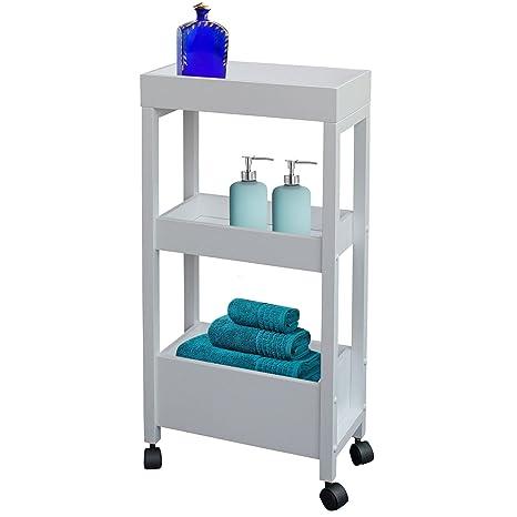 Carrito para el baño de Top Home Solutions, de madera, con ruedas, color