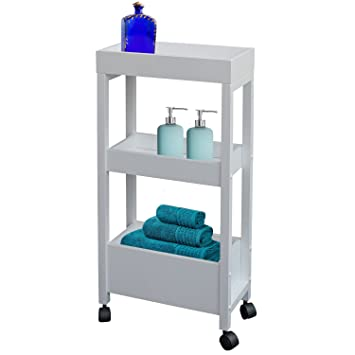 Carrito para el baño de Top Home Solutions, de madera, con ruedas, color blanco, con 3 estantes: Amazon.es: Hogar