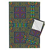 Roostery Game Tea Towels Digital Maze by Kociara Set of 2 Linen Cotton Tea Towels