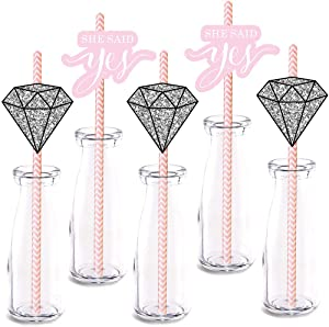 She Said Yes Straw Decor, 24-Pack Wedding Diamond Engagement Bridal Shower Party Supply Decorations, Paper Decorative Straws