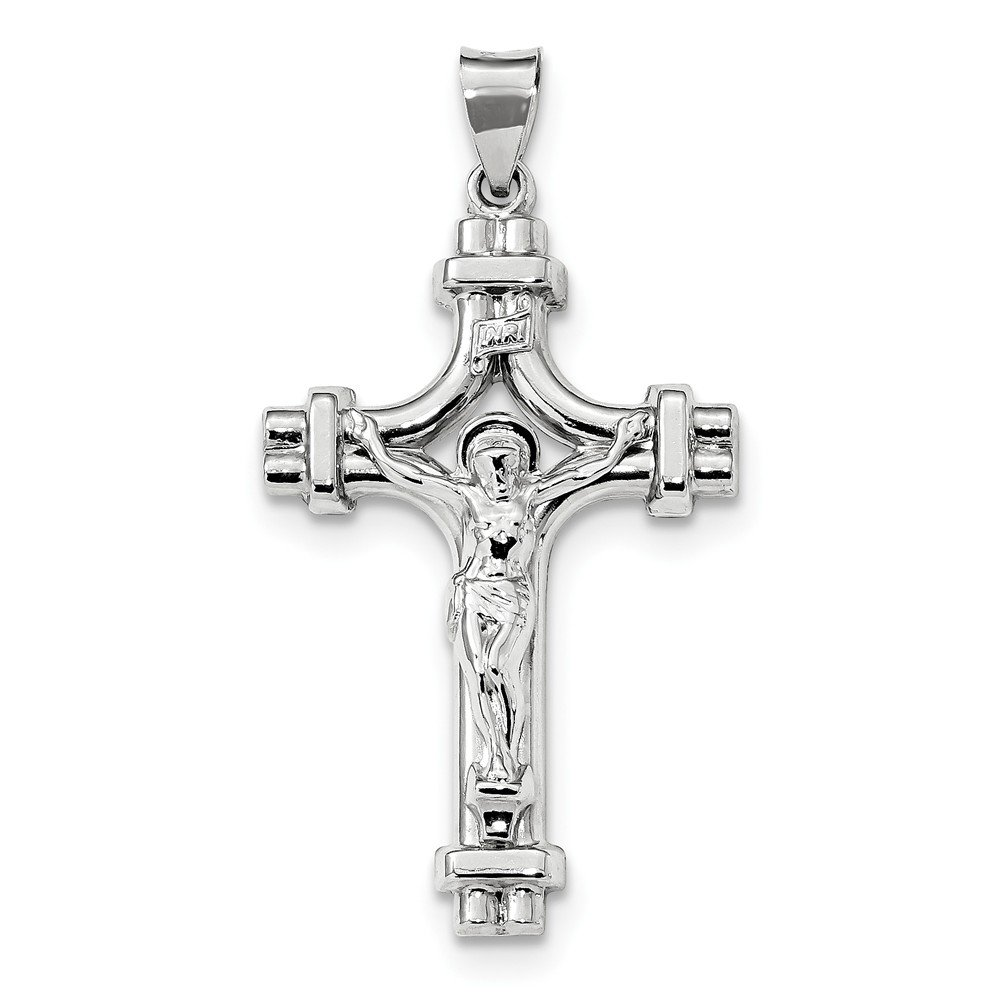 Sterling Silver Polished INRI Crucifix Pendant 3D 24 mm 47.5 mm Themed Pendants /& Charms Jewelry