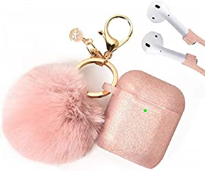 Filoto Case for Airpods, Airpod Case Cover for Apple Airpods 2&1 Charging Case, Cute Air Pods Silicone Protective Accessories Cases/Keychain/Pompom/Strap, Best Gift for Girls and Women, Rose Gold