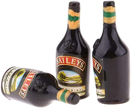 Dollhouse set of 3 Baileys bottles 1:12 scale