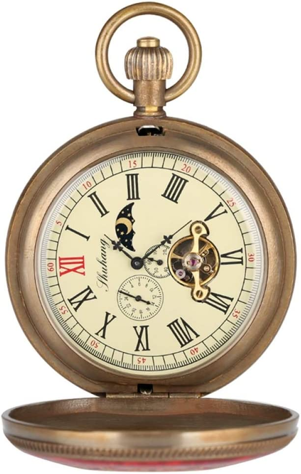 SDVIB Reloj de Bolsillo Cobre Puro Rojo y Azul Cubierta Retro Gran Tourbillon Reloj de Bolsillo mecánico Moda Retro Fob Cuerda Manual Reloj Doble Cazador