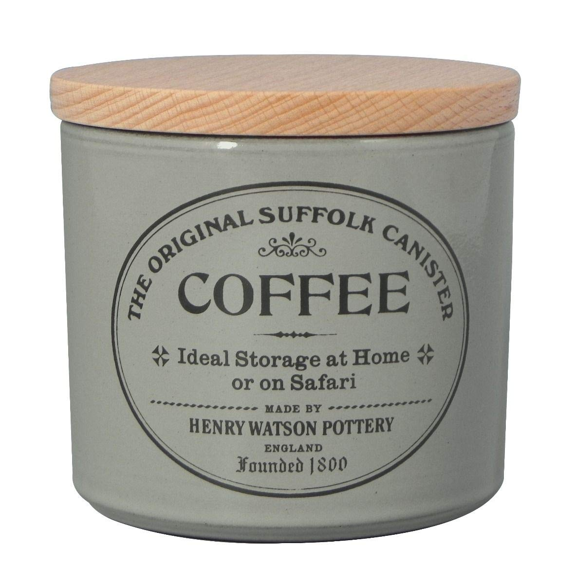 Large Airtight Coffee Canister in Dove Grey by Henry Watson Made in England