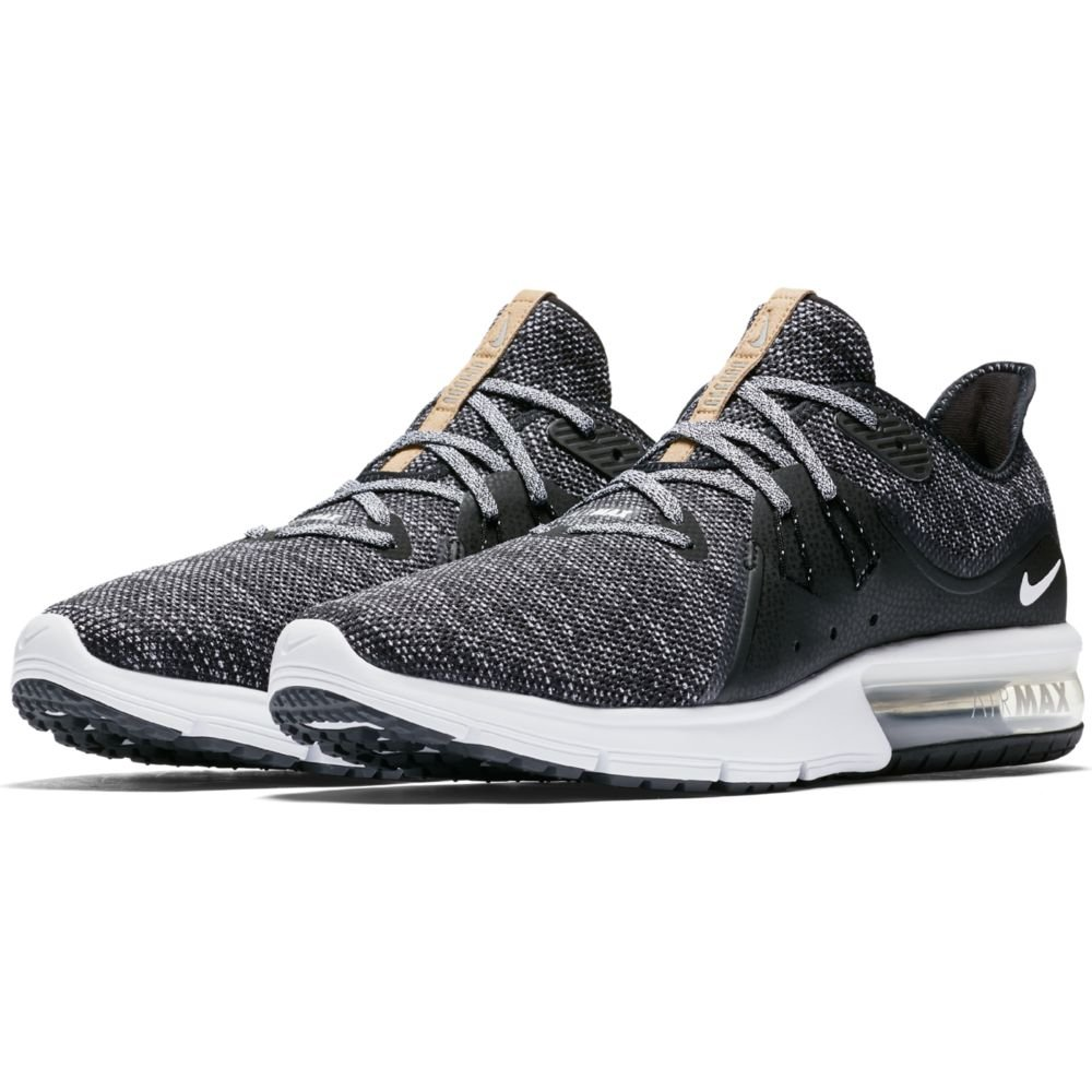 Nike Air Max Sequent 3 Size 9 Mens Running Black/White-Dark Grey Shoes