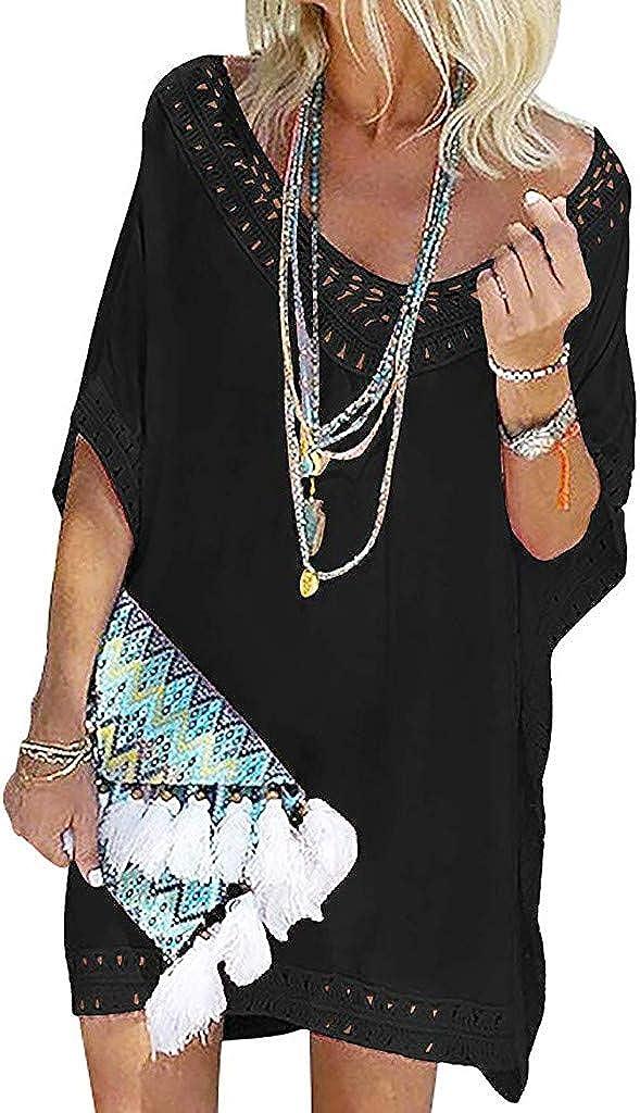 Damen Kleidung Rosennie Lady Drucken Alphabet Tassel Bikini Top Strand Minikleid Womens Tassel Letters Print Baggy Bademode Bikini Cover-UP Strandkleid Mode Swimwear Sommerkleid Bluse