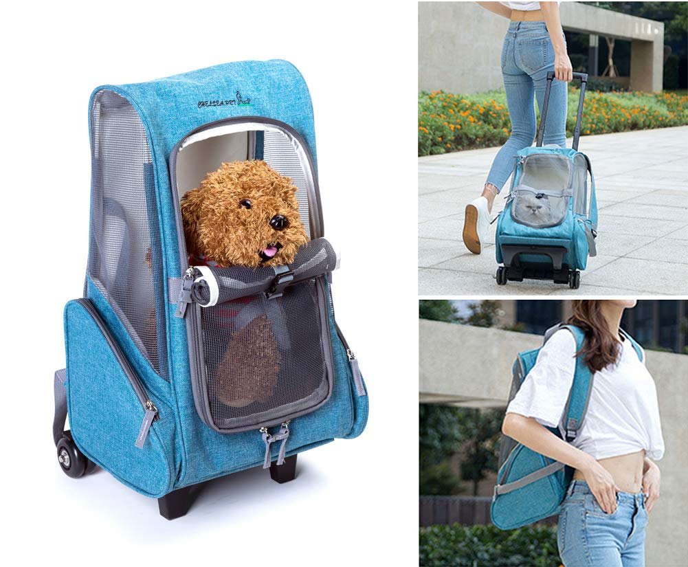 Light bluee Rantow Cat Dog Rolling Carrier with Removable Wheels 21.7 x11 x9  Pet Stroller Travel Backpack in One for Cats Dogs Rabbits Kittens Puppy (Light bluee)