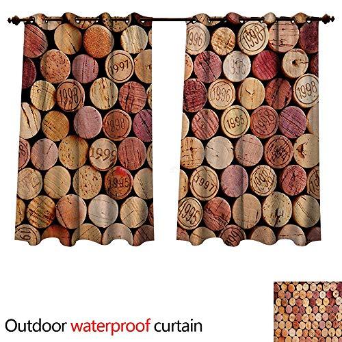WilliamsDecor Wine 0utdoor Curtains for Patio Waterproof Random Selection of Used Wine Corks Vintage Quality Gourmet Taste Liquor W55 x L72(140cm x 183cm) ()