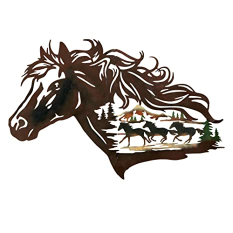 Collections Etc Metal Western Horse Silhouette Wall Art with Running Horses  Scene, Attached Hooks for Easy Hanging, Brown
