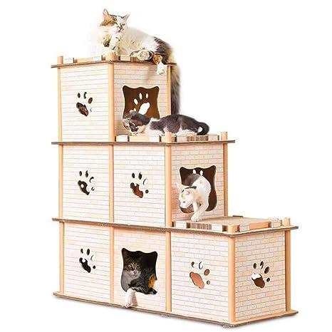Casa De Gato Corrugado para Mascotas Casa De Gato Garras De Techo Gato Scratch Board Marco