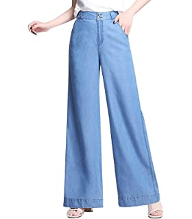 16fad838de FASFF Wide Leg Trousers for Women Jeans Women's Summer Trousers Large Size  Elastic Waist