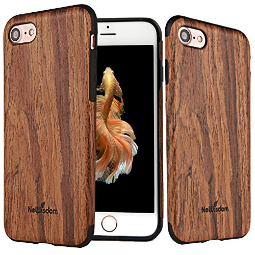 iPhone 8 case Wood, iPhone 7 Case Wood, NeWisdom Stylish Unique [Slim] [Soft] Rubberized Wood Covering [ Thin Wood Layer Over Rubber ] Cover for Apple iPhone8 iPhone7 – Sandalwood