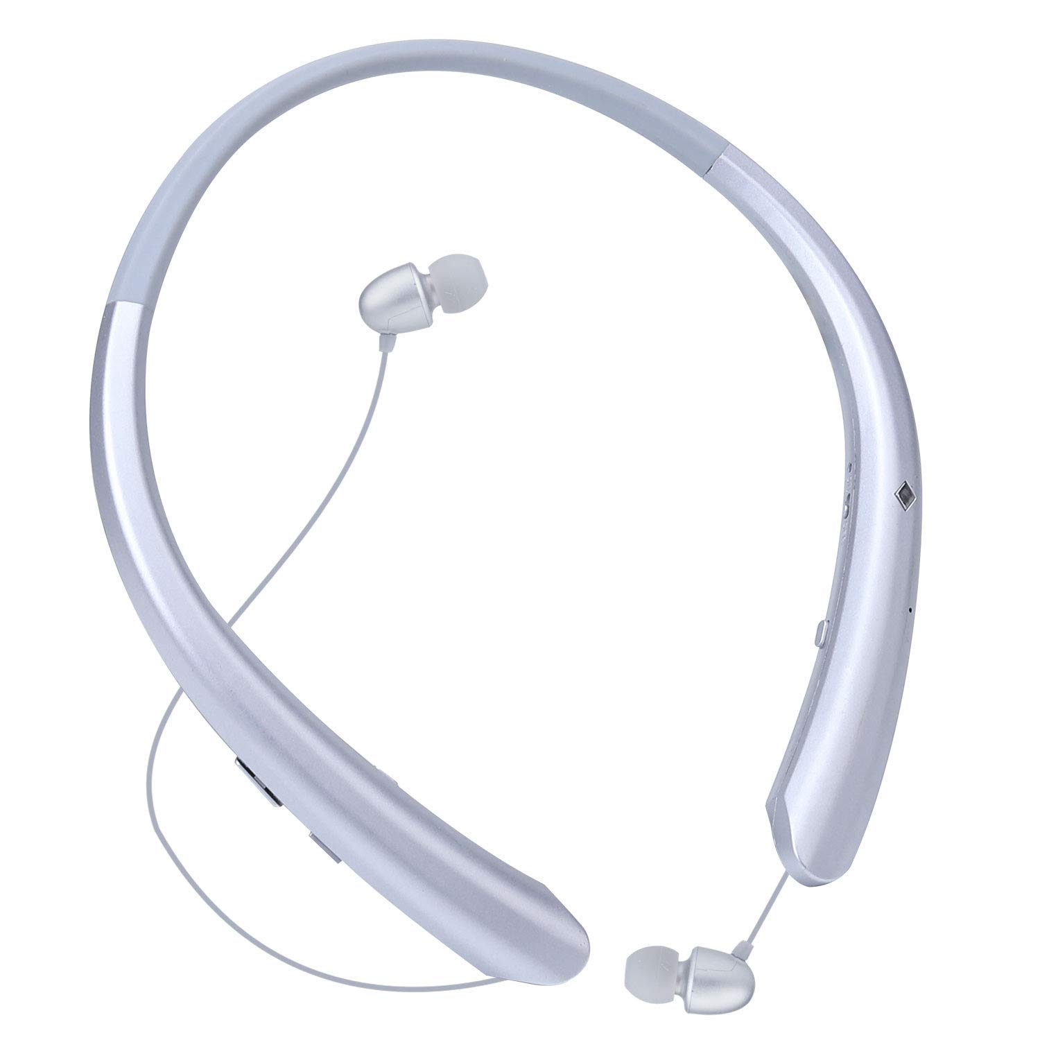 Bluetooth Retractable Headphones, Wireless Earbuds Neckband Headset HD Stereo Earphones with Mic (Silver)