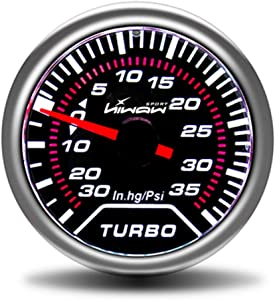 HiwowSport 2'' 52mm Universal LED Turbo Boost Vacuum Press Pressure Gauge Meter up 35 Psi