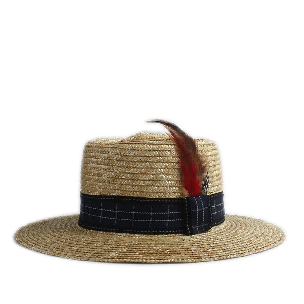 MUMUWU Sun Hat Husk Bowling Solar Straw Hat Feather Decoration Flat Hindquarters Adjustable Summer Beach Hat (Color : 1, Size : 56-58CM)