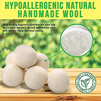 Wooly Dryer Ball | 6 Pcs Reusable Multi Use Wool Dryer Balls Natural Fabric Softener for Faster Laundry Drying with Hypoallergenic Eco-Friendly Anti-Wrinkle Anti-Static Features | White | 1391