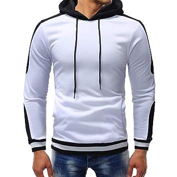 LuckyGirls Camisetas de Manga Larga Suelto Sudaderas Color de Mezcla Top Polos Chándales con Bolsillo Camisas para Hombre: Amazon.es: Deportes y aire libre