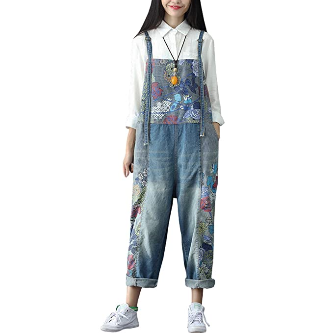 a15b6c0750 Sidiou Group Women s Casual Printed Baggy Trousers Wide Leg Dungarees  Cotton Romper Jumpsuit Playsuit (One