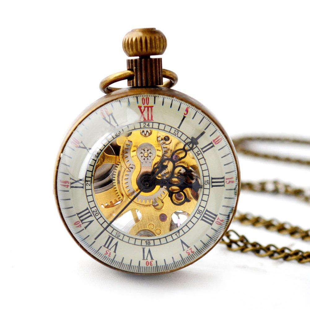 SW Watches Zoom Glass Ball Hollow Esqueleto Reloj De Bolsillo Mecánico Automático Suéter Reloj De Cadena: Amazon.es: Hogar