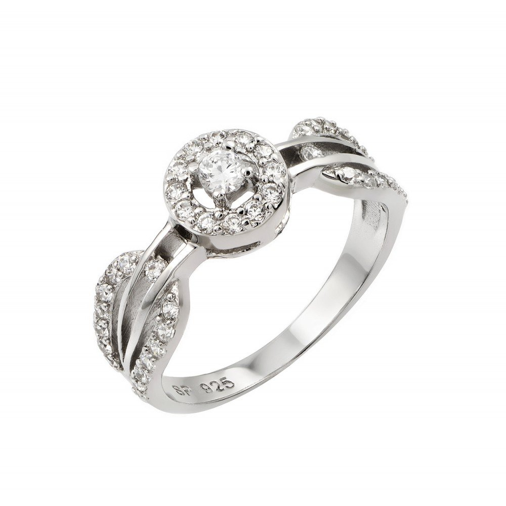 Princess Kylie Round Center Cubic Zirconia Designer Band Wedding Ring Rhodium Plated Sterling Silver