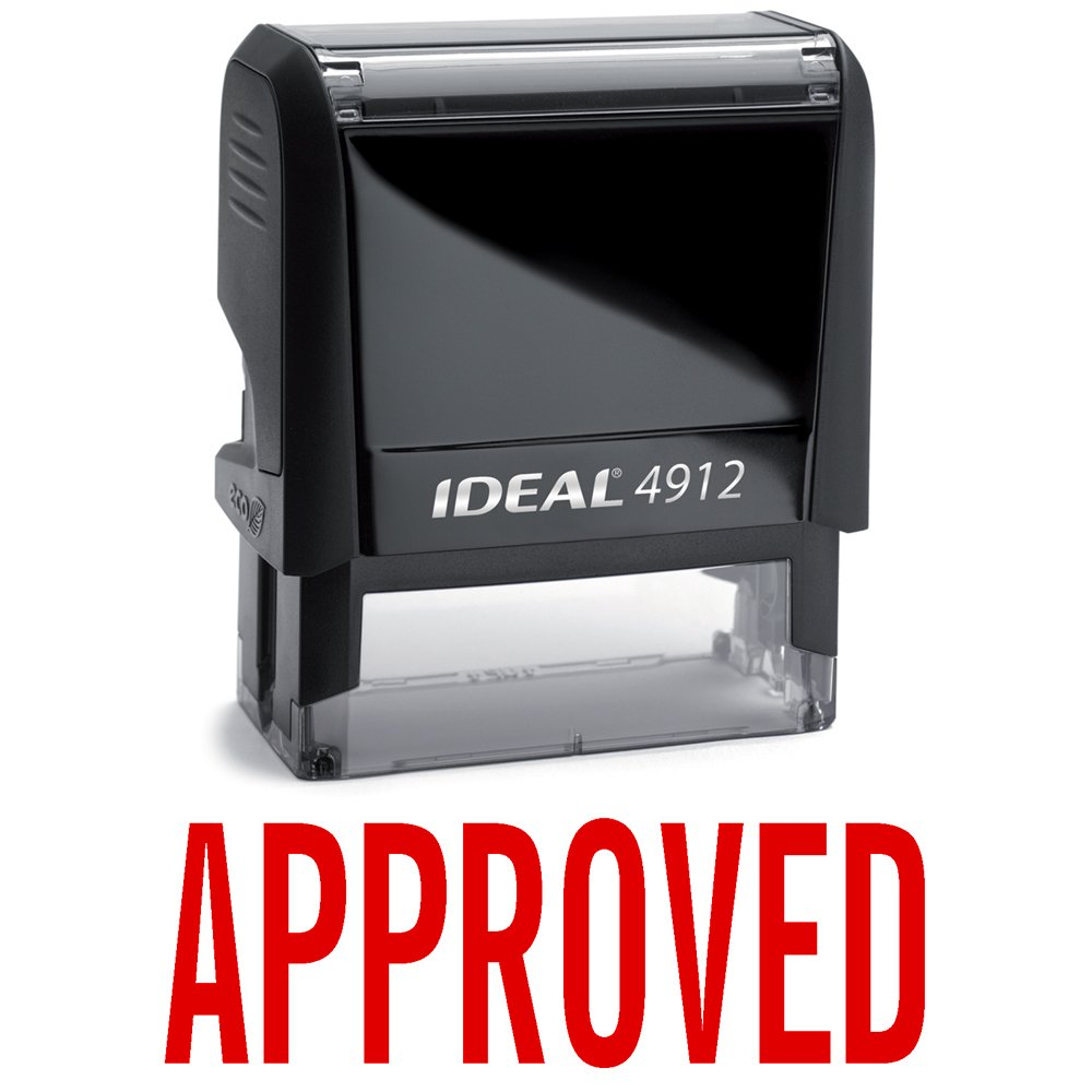 APPROVED Red Office Stock Self-Inking Rubber Stamp Ideal Rubber Stamps Approved Red Ideal 80