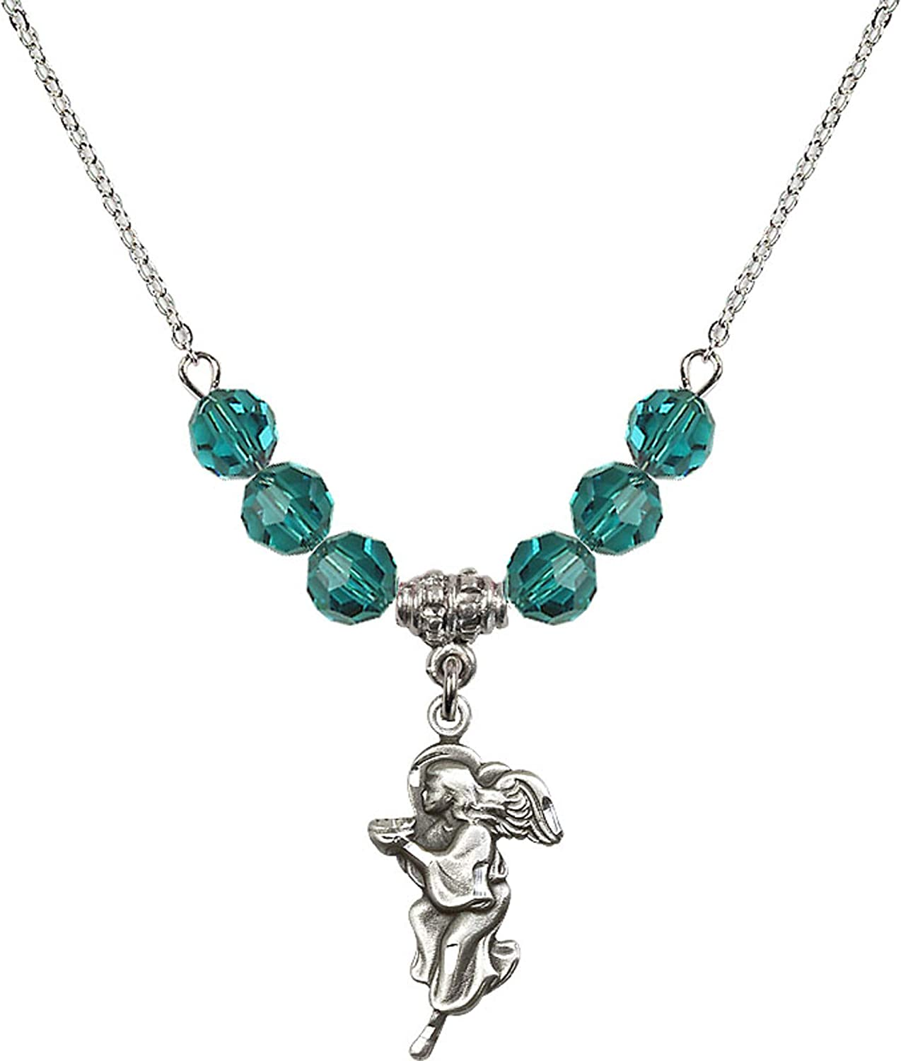 Bonyak Jewelry 18 Inch Rhodium Plated Necklace w// 6mm Blue December Birth Month Stone Beads and Guardian Angel Charm