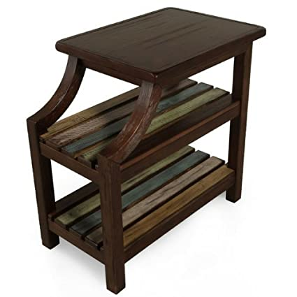 Amazon.com: Rustic Dark Wood End Table Side Chairside Accent ...