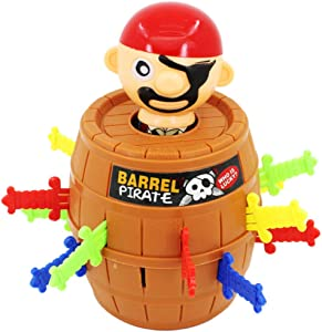 Halloluck Pirate Barrel Game, Pirate Funny Barrel Novelty Toy Bucket, Adult Kids Pirate Bucket Tricky Toy Party Game, Lucky Stab Pop Up Game Toys Intellectual Game
