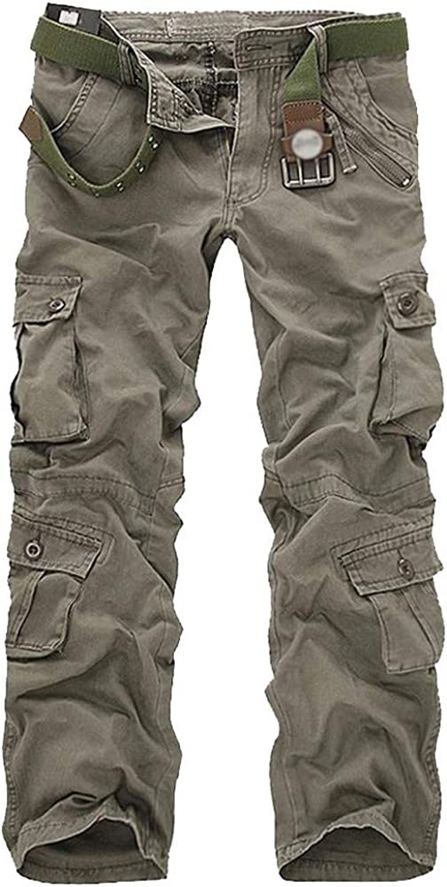 AKIMPE Mens Fashion Casual Cotton Multi-Pocket Outdoors Work Trouser Cargo Long Pants