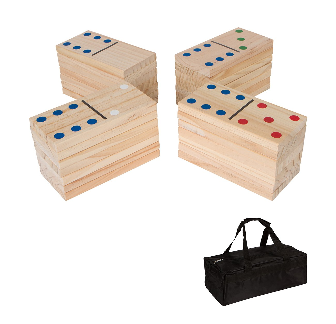 【ポイント10倍】 18cm 28-Piece B0756P86CF Giant Wood Dominoes (Light Set by with Carry Bag by Trademark Innovations (Light Wood) B0756P86CF, 草津市:e711ba4c --- yelica.com
